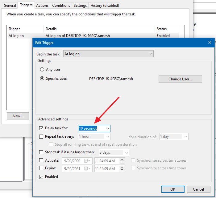 auto login and lock scheduler time delay