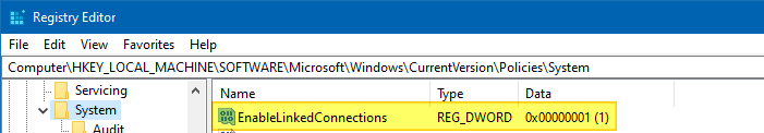 mapped network drive not seen from admin command prompt and task scheduler - enablelinkedconnections