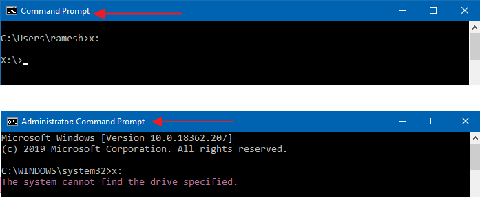 mapped network drive not seen from admin command prompt and task scheduler