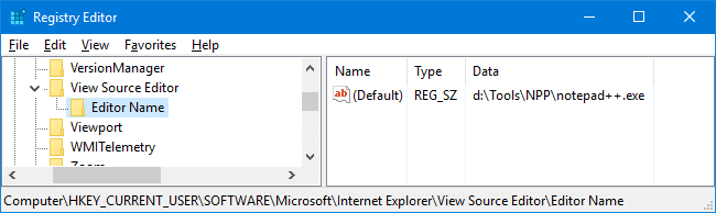 ie view source editor change to notepad