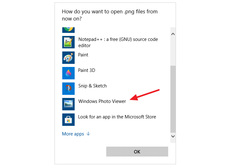windows photo viewer - open with dialog