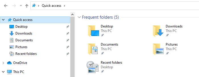 recent places or recent folders pin to quick access