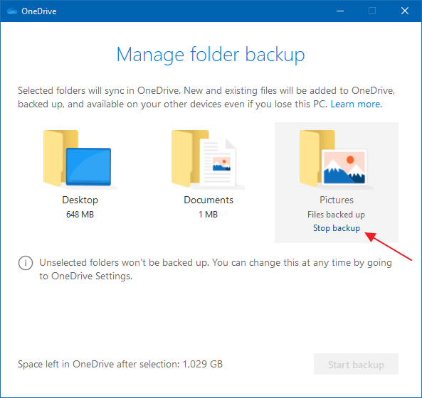 onedrive folder direction stop backup