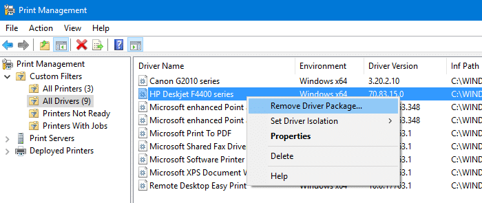 remove driver package - print management