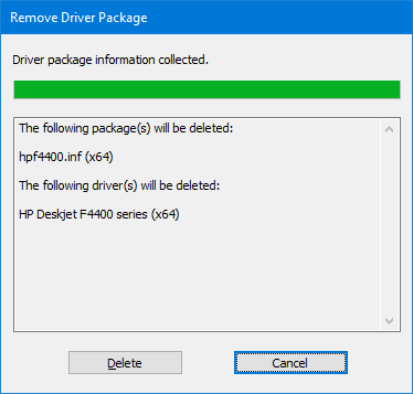 remove driver package confirmation