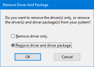 remove driver and driver package via print server properties