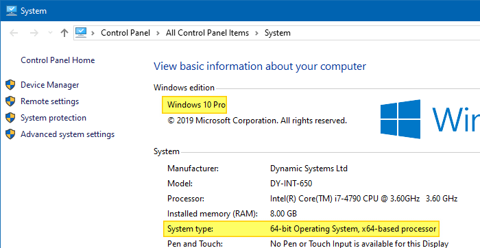 find windows 10 version build bitness system