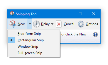 start snipping tool in capture mode