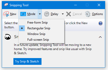Make Snipping Tool Default to New Snip when Launched