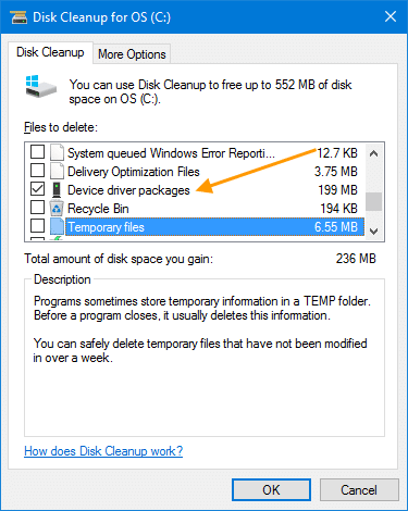 delete old driver package disk cleanup
