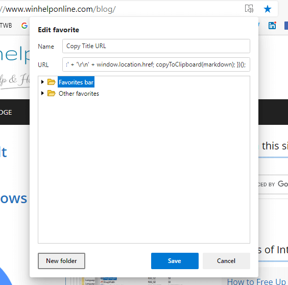 microsoft edge chromium - copy title and url