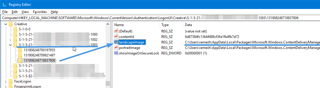 find current lock screen image creative windows 10 1803 1809 and higher