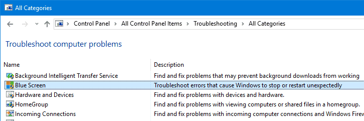 blue screen troubleshooter windows 10