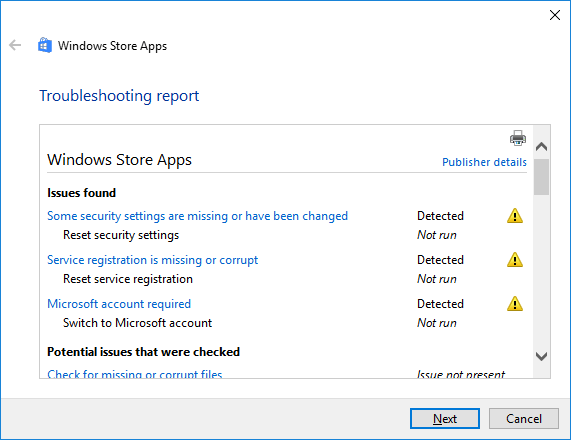 store apps troubleshooter