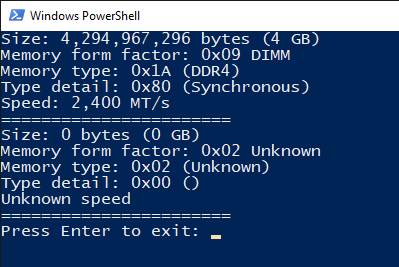 wmic memory type, part number find using powershell