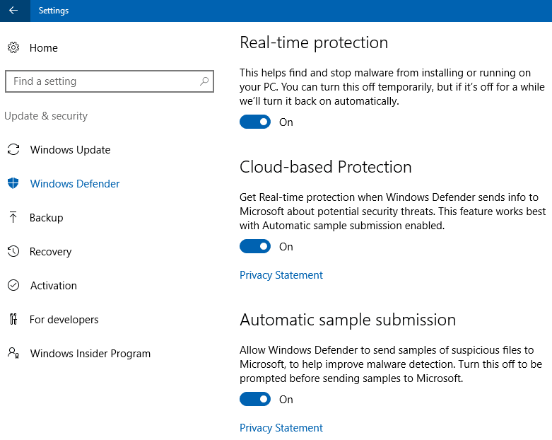 defender cloud protection