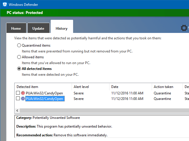 configure windows defender to scan and eliminate adware pup or pua