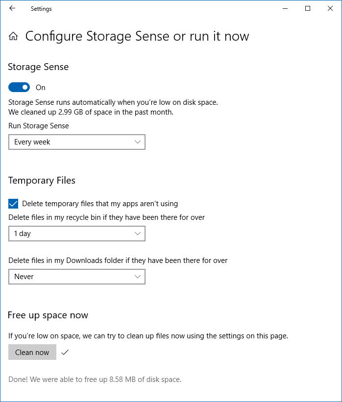 windows 10 storage settings cleanup options