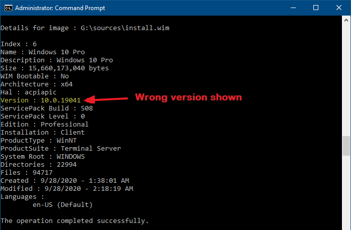 dism get wiminfo wrong version