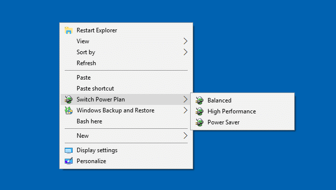 switch power plan right-click menu