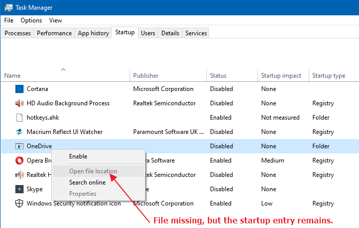 task manager startup tab dead entries - onedrive