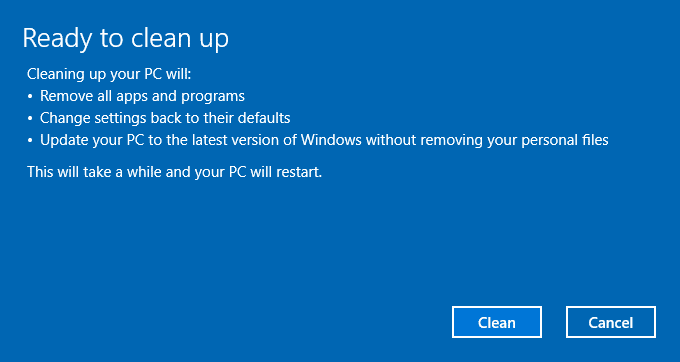 clean up pc system reset option