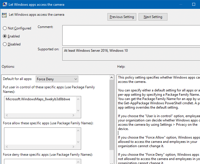 camera group policy settings