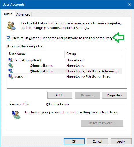 set pin as default sign-in