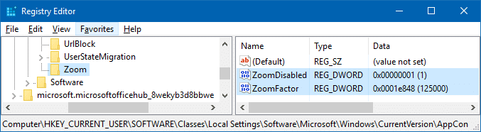 disable zoom or reset zoom level in edge