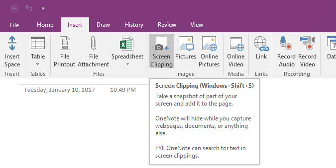 Onenote 2016 Screen Clipping Shortcut Key