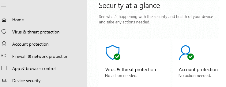 virus and threat protection missing in defender settings