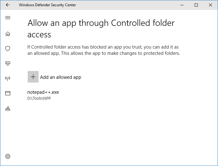 Controlled folder access -- Allowing an app