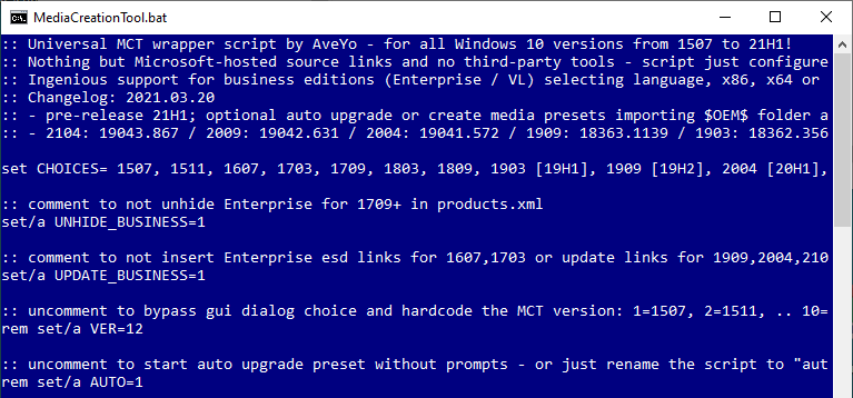 universal mct wrapper batch file to download any edition or version Windows 10 ISO