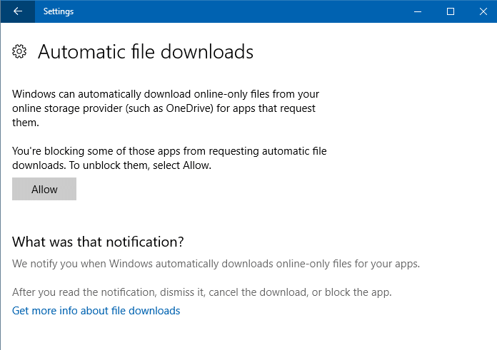 onedrive on-demand unblock all apps automatic file downloads