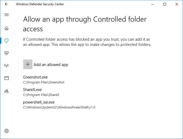 allow all apps controlled folder apps