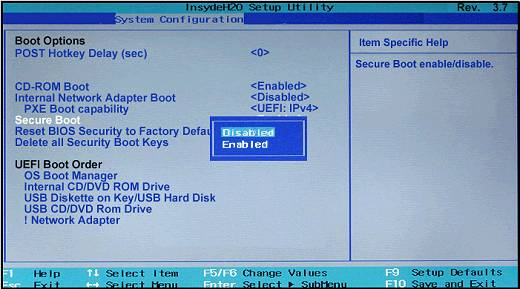 enable or disable secure boot in bios