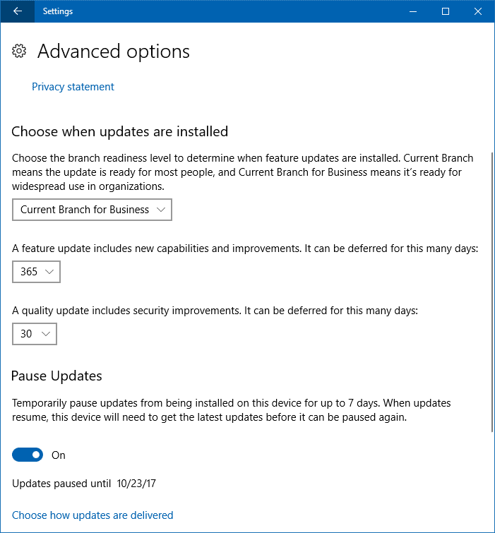 wu advanced options delay feature updates