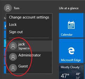 users already logged in windows 10
