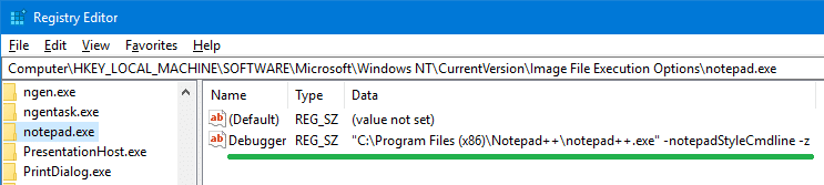notepad plus replace debugger notepad.exe