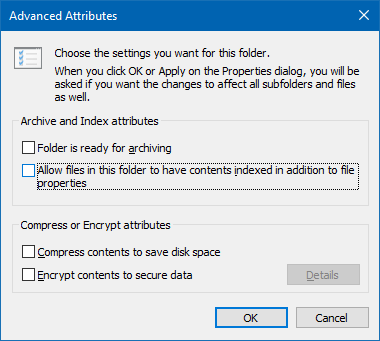 disable contents index for a folder