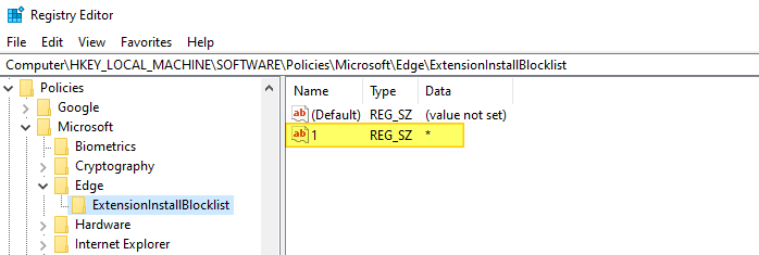 block edge extensions - edge chromium