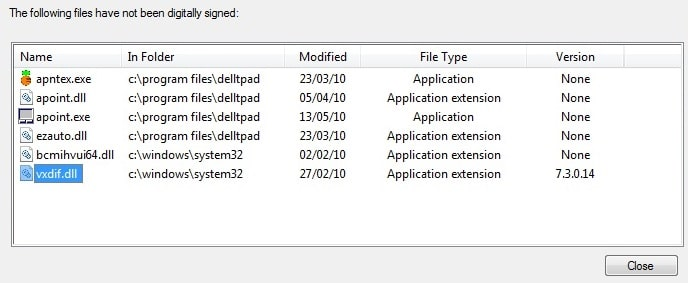 unsigned drivers list by sigverif.exe