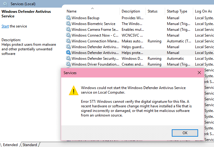 windows defender error 577