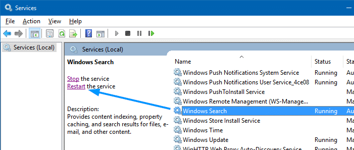 Reset and Rebuild Search Index - restart windows search service