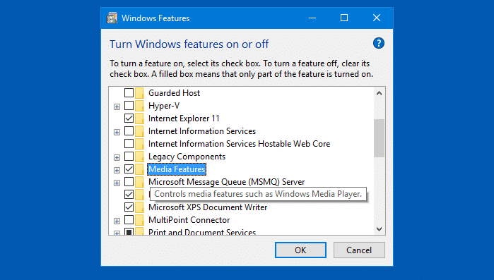 media feature enable windows features dialog