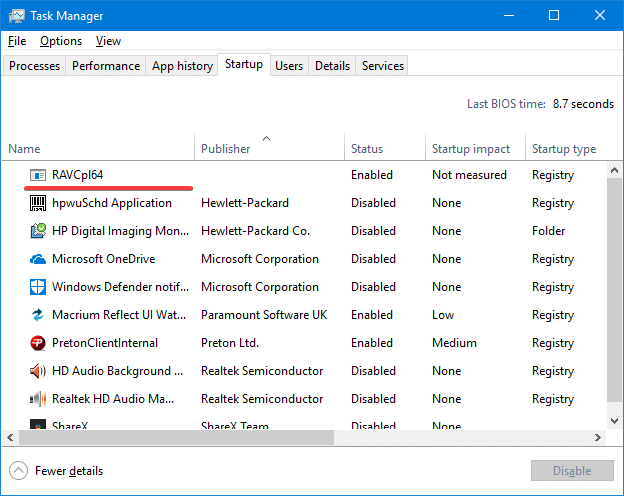 unknown program entry in task manager startup tab