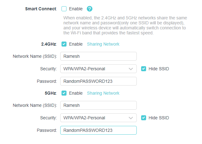 router frequency settings - wifi ssid missing