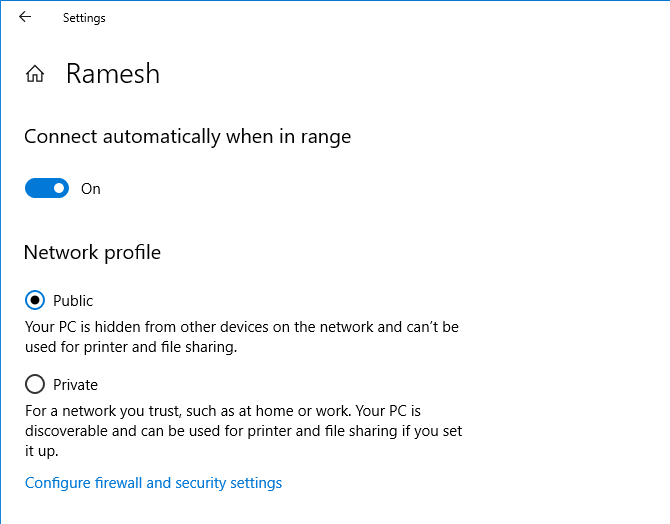network profile private or public