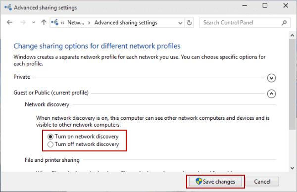 turn on network discovery - wi-fi networks not showing