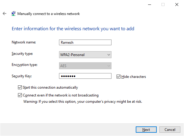 wifi ssid connect manually